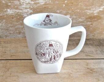 Mug with Scarecrow of Oz, 14 oz Coffee Cup, John R Neill Art, WW Denslow Art, Wizard of Oz King, Ready to Ship