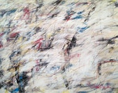 1-18-14 (LARGE abstract painting, black, cream, white, silver, gray, blue,red)