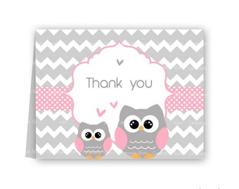 Baby shower thank you cards owl pink and grey chevron PRINTABLE