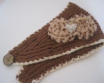 Youth Girls Brown and Ivory Knit Ear Warmer Ear Wrap Headband Winter Hat with Polka Dot Shabby Chiffon Flowers and a Rhinestone Heart Accent