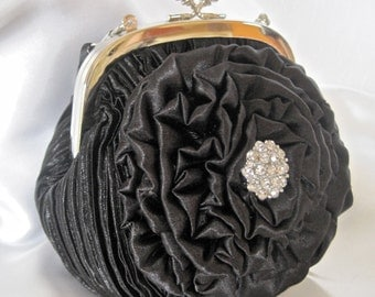 Clutch Black Pleated Satin Silver Kiss Lock  with Black Satin Handmade open Rose with Gorgeous Rhinestone Accent