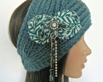 Unique Ear Warmer Headband Head Wrap Teal Knit with Teal Striped Chiffon Flowers and a Hanging Bead and Rhinestone Accent