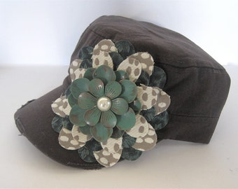 Grey Cadet Military Distressed Petal Hat with a Turquoise Grey and Ivory Flower and a  Turquoise Metal and Pearl Flower Pendant Accemt
