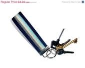 Key fob - Wristlet Key Ring - Hands Free Key Ring - Navy Blue cotton webbing- UK Seller