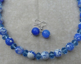 22 Inch Blue Fire Agate and Crystal Necklace with Earrings