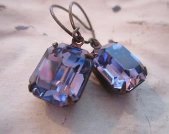 December Birthstone Earrings.Tanzanite Earrings. Swarovski Rectangular Tanzanite Drop Rhinestone Earrings. Blue Violet Earrings.