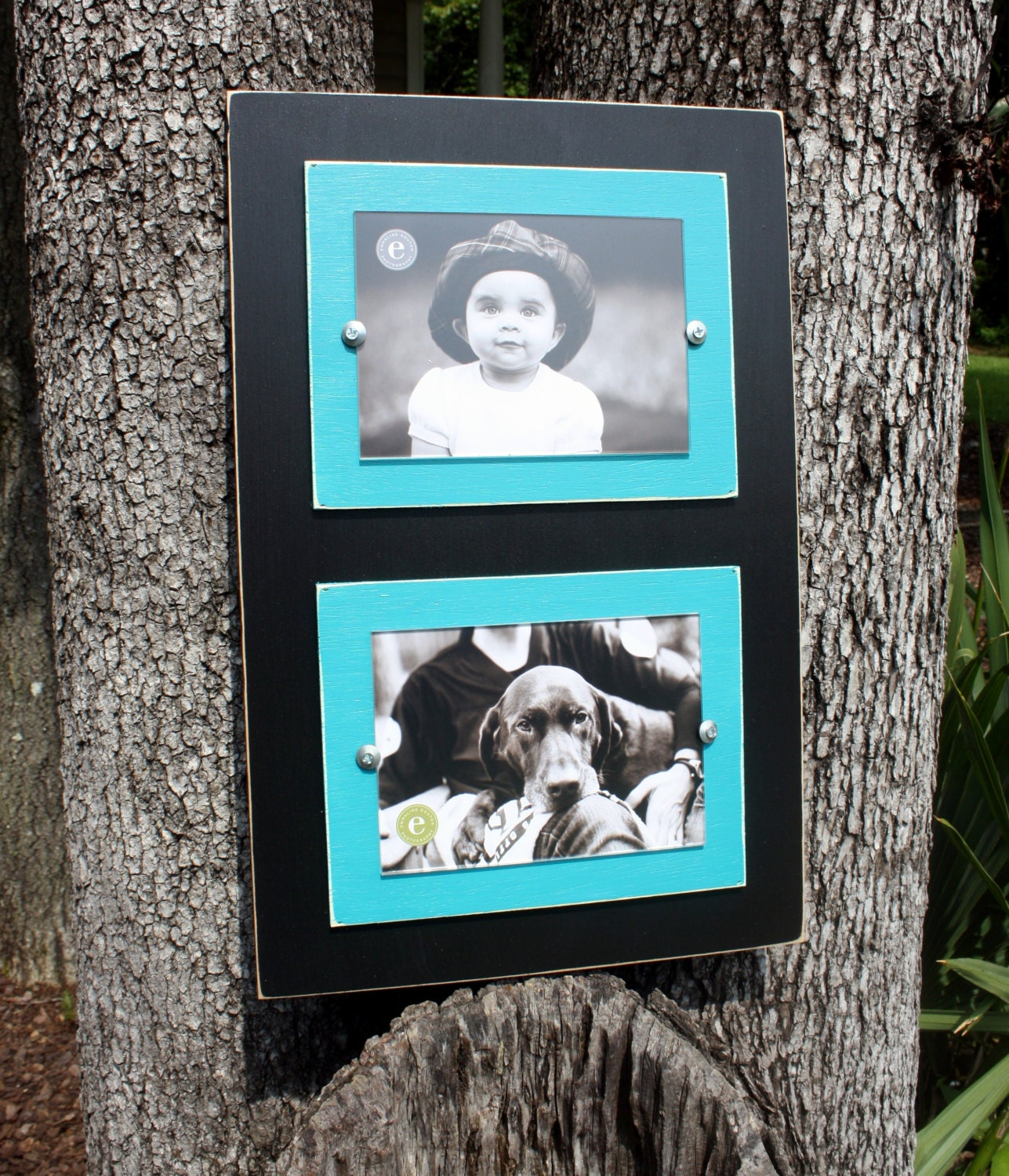 Double 5x7 Picture Frame Distressed Picture Frame Turquoise