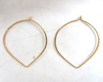1 Pair Lotus Hoop Earrings--24K Gold Vermeil--40 mm
