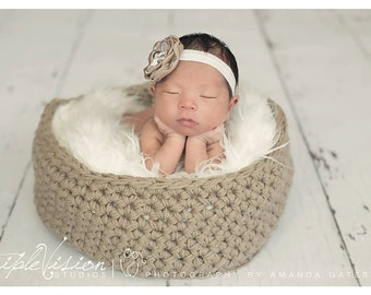 Newborn Crochet Basket Soft collapsible Soft  Fabric Photography Photography Photo Prop