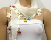 Ivory White cotton Scarf with multicolor cherries and crocheted flowers -  off white scarf