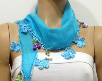 Crocheted TURQUOISE BLUE scarf with handmade multi color oya flowers and cherries