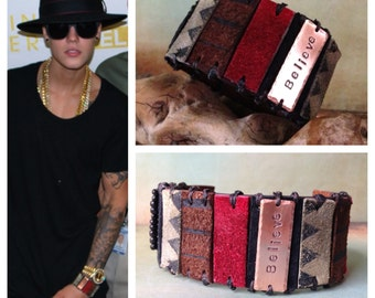 JUSTIN BIEBER Leather and Suede Cuff Bracelet with Brass Plate. 'Believe', Leather Bracelet, Wearable Art