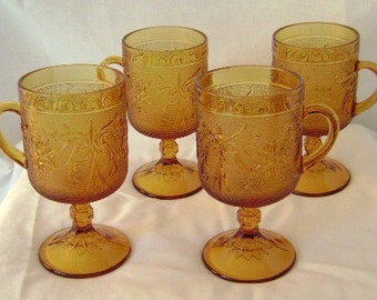 Tiara Indiana Glassware Footed Mugs