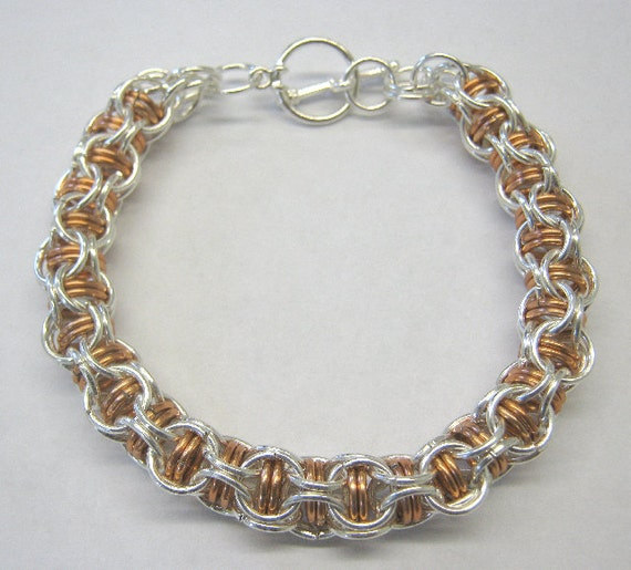 Chain Maille Bracelet Silver Plated with Anodized Aluminum in Copper