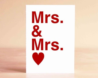 Lesbian Wedding Card - Lesbian Wedding Gift - Lesbian Engagement Card - Lesbian Anniversary Card - Mrs. & Mrs.