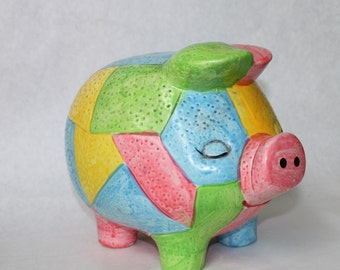 Vintage Piggy Bank, Large Multi-Colored, Ceramic Bank