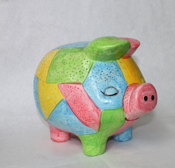 Items Similar To Vintage Piggy Bank Large Multi Colored
