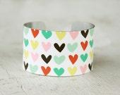 Heart Cuff Bracelet - Metal Cuff Bracelet - Adjustable Bracelet - Metal Cuff - Aluminum Cuff - Large Cuff Bracelet by Zoe Madison (160)