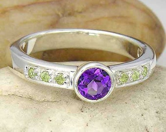 Amethyst and Peridot Sterling Silver Ring, Green Peridot and Purple Amethyst Silver Ring made to order, YOUR RING SIZE