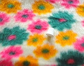 RESERVED -- bright floral faux fur vintage fabric -- 60 wide by 1 1/8 yards