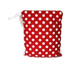12x15 Red white polka dot wet bag waterproof cloth diaper zipper medium swim bathing suit pool beach girl hanging large