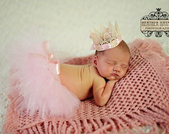 Baby Pink and Cream with Big Satin Bow Tutu and Matching Crown SET - NEWBORN size - Perfect Photo Prop or Keepsake Photo Prop
