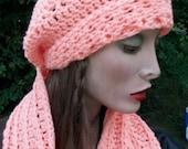Womans Hat and Scarf set, Peach Hat/Scarf, handmade crochet beanie Peach Infinity Scarf set, teen woman accessories, HUGE SUMMER SALE :)