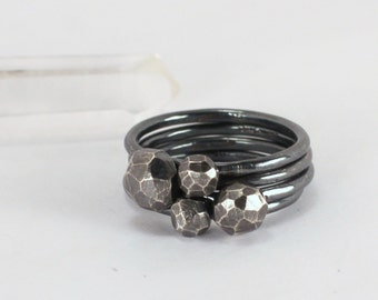 Antiqued Faceted Silver Stacking Set, Sterling Silver, Made to Order