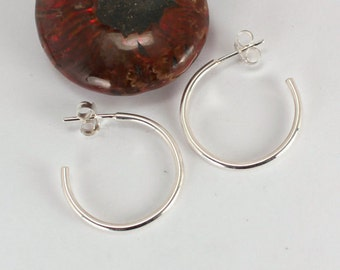 Small Polished Hoops with Posts, Sterling Silver, Made to Order
