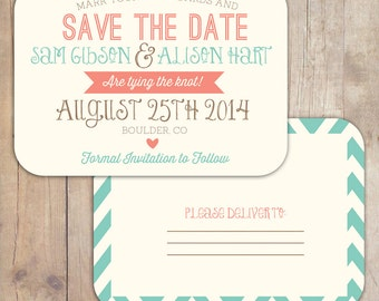 Rustic Vintage Turquoise & Coral Save the Date Postcard Wedding Announcement Printable Invitation OR Printed Card