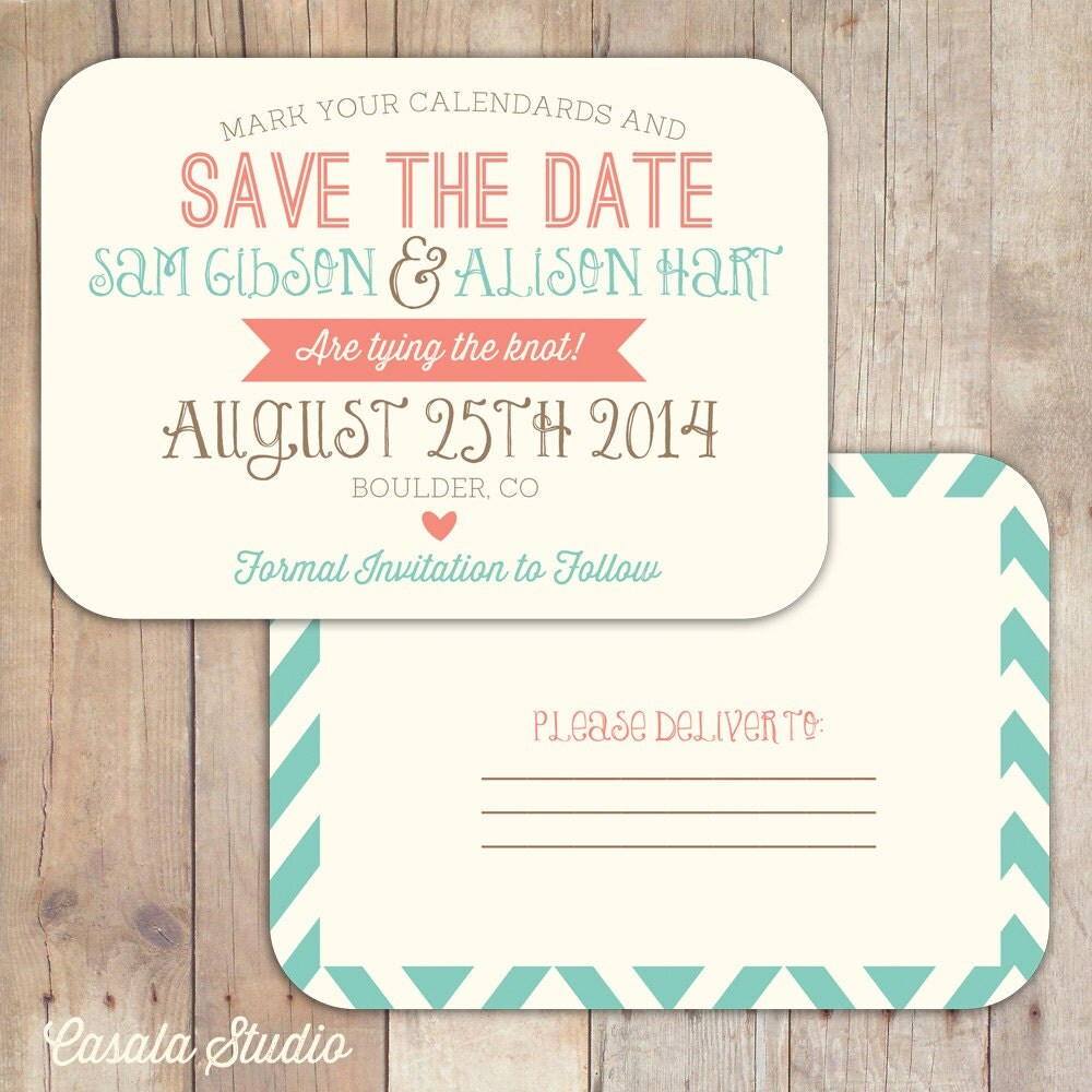 Rustic vintage turquoise coral save the date postcard for Free online wedding save the date templates