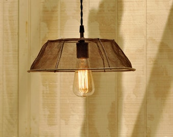 Pendant Light, Vintage Basket Light w/ Ceiling Canopy Kit, Wire Basket Hanging Light, Vintage Light, Farm Basket Light, Kitchen Light