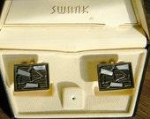Original Vintage SWANK Grand Prix Collection Stone Cufflinks