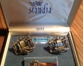 RARE SWANK Scandia Line Vintage Viking Cufflinks