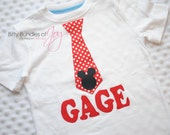 Personalized Mickey Mouse Red and White Polka Dot Tie Shirt