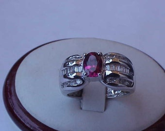 JCR Vintage Unique 1.75cttw Flawless Natural Pink Tourmaline & Diamonds  14K White Gold Cocktail Ring,1950s