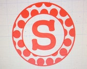Circle of Large Polka Dots with Initial Car Decal