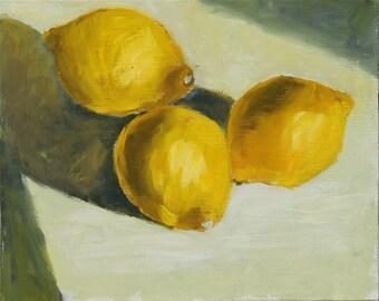 Lemon Still Life Painting, Oil paint on FLAT wood panel, 8x10 inch, Contemporary Fine Art