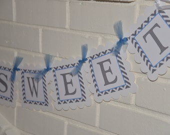 Elephant Baby Shower banner, Boys are Sweet, mod elephant, blue and grey, elephant banner