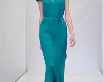 Prom evening formal gown, long dress, short sleeves, turquoise color, designer dress, custom made