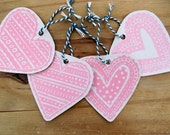 SALE Hand Printed Pink Love Heart Gift Tags (4 Pack)