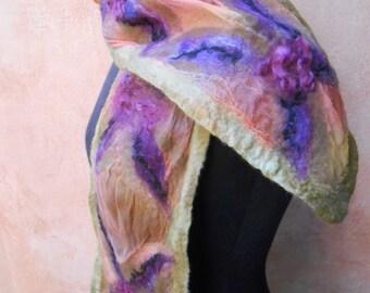 Springtime Sheer Silk Nuno Felt Scarf