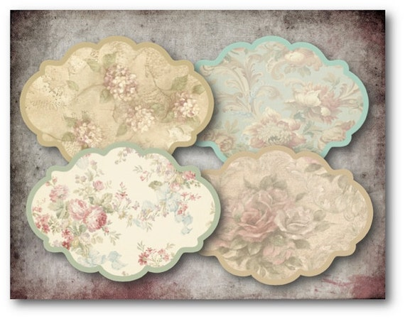 Digital Collage Sheet Download - Vintage Floral Labels -  338  - Digital Paper - Instant Download Printables