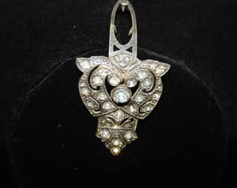 Vintage Art Deco Rhinestone  Dress Clip