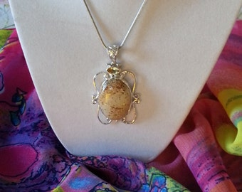 FREE SHIPPING...New Poppy Jasper and Citrine 925 Silver Pendant
