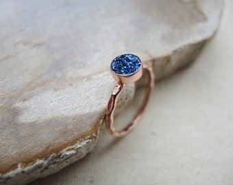 SALE, Blue Druzy Ring, 18K Rose Gold Vermeil Bezel Ring, Druzy Stone Ring, Rose Gold Ring, Midnight Blue Druzy, Druzy Jewelry Gifts For Her