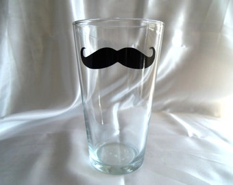 Mustache Glass, Mustache Glasses, Pint Beer Glass, Housewares, Glassware, Home and Living, Mustache, Moustache, Cups & Mugs, Christmas Gifts