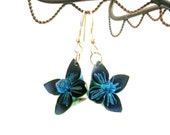 Origami Earrings -  Kusudama Origami Jewelry - Paper Earrings in Blue Green - Paper Anniversary Gift