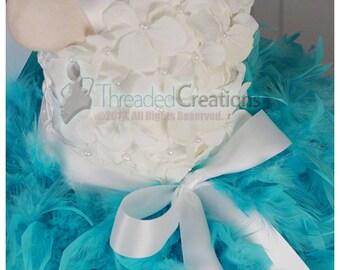 Feather Dress- Aqua Tutu Dress - Aqua Dress - Aqua girls dress - Hydrangea Tutu Dress -