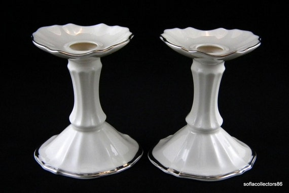 Lenox symphony platinum trim candle holders pair